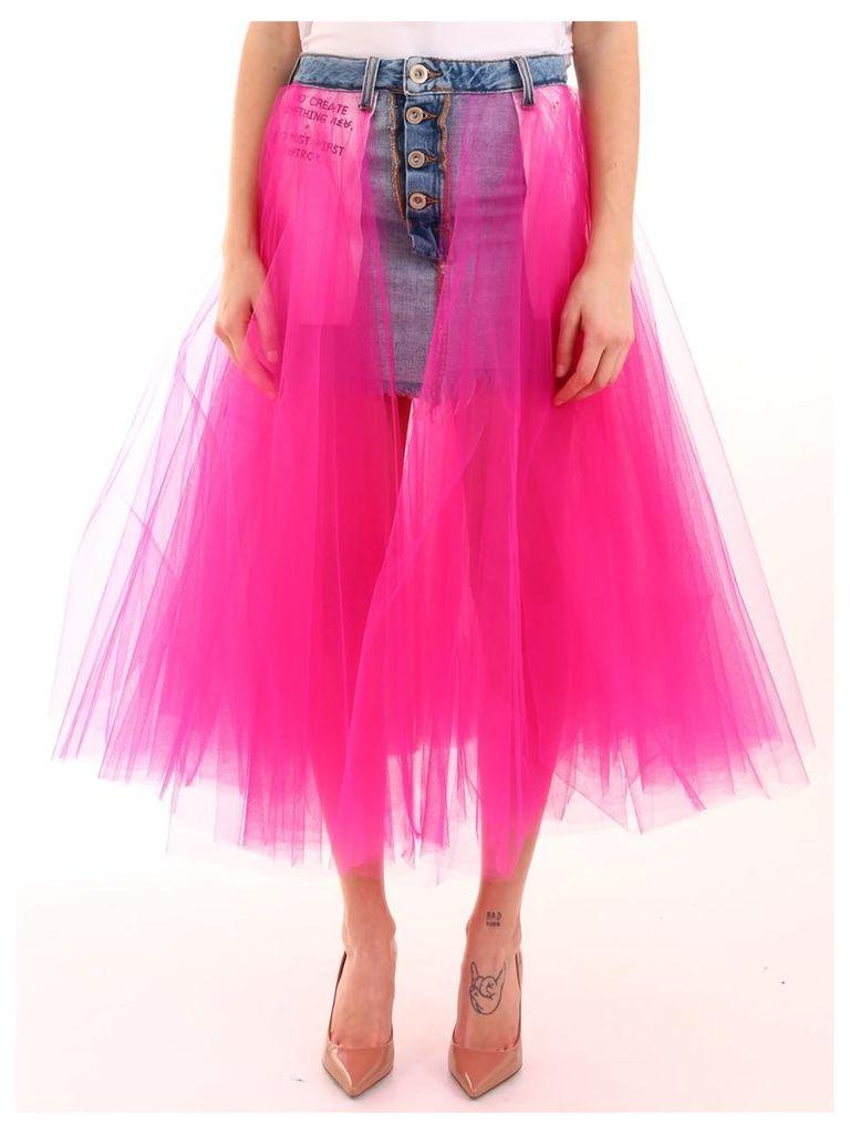 Ben Taverniti Unravel Project Denim Skirt With Tulle