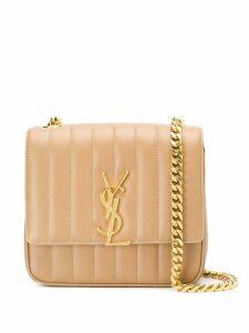 Saint Laurent quilted monogram shoulder bag - Brown