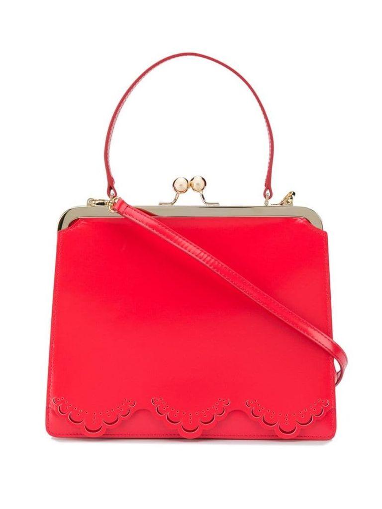 Simone Rocha scalloped trim tote bag - Red