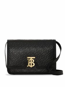 Burberry Medium Monogram Leather TB Bag - Black