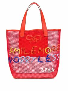 Anya Hindmarch Smile More mesh tote - Red