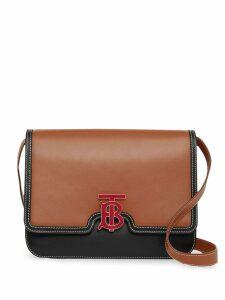 Burberry Medium Two-tone Leather TB Bag - Brown