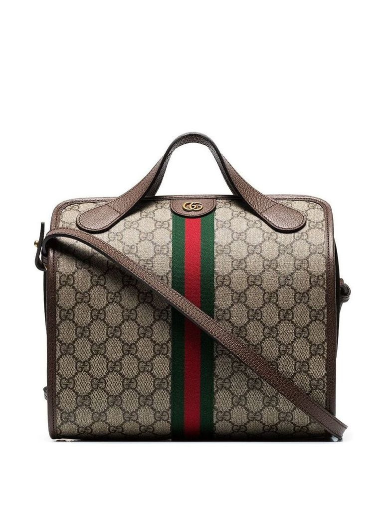 Gucci beige and brown supreme ophidia mini duffle bag tote - Neutrals