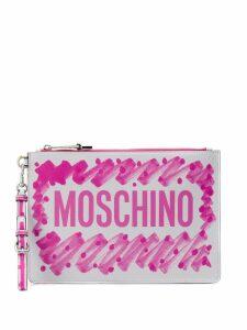 Moschino brushstroke logo clutch - Pink