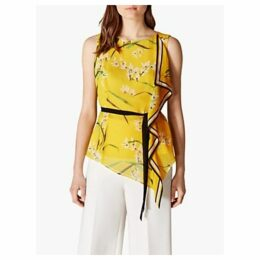 Karen Millen Floral Tie Waist Top, Yellow/Multi