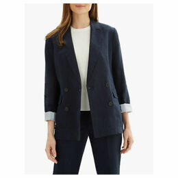 Jaeger Double Breasted Linen Blazer, Navy