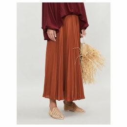 Pleated silk-crepe skirt