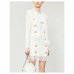 Fringe-trimmed bouclé skirt