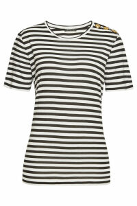 Balmain Striped T-Shirt with Embossed Buttons