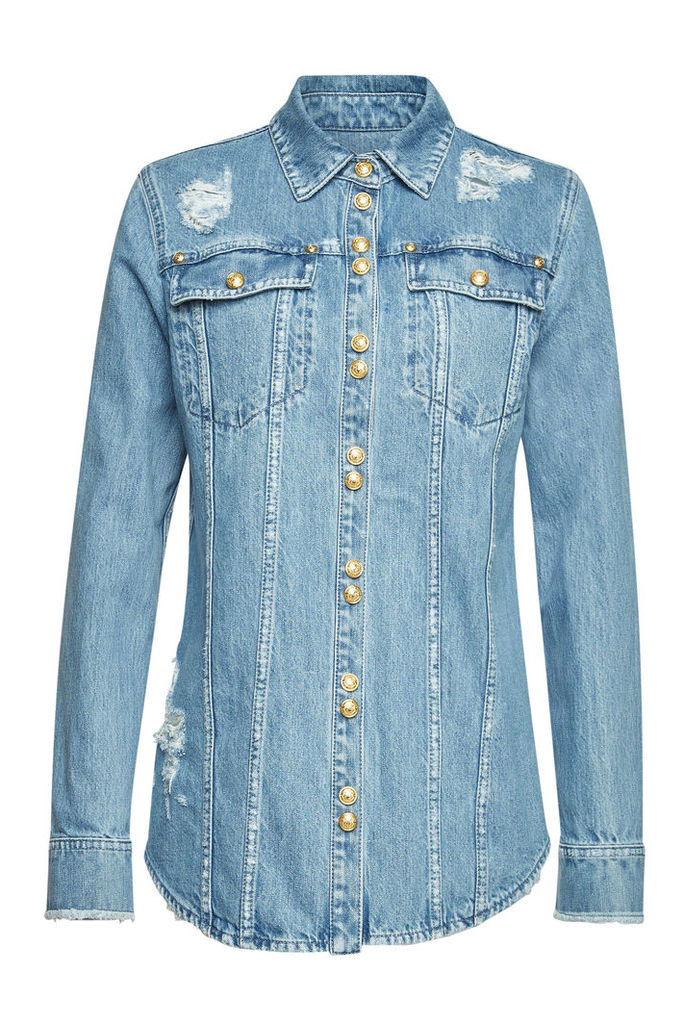 Balmain Distressed Denim Shirt with Embossed Buttons