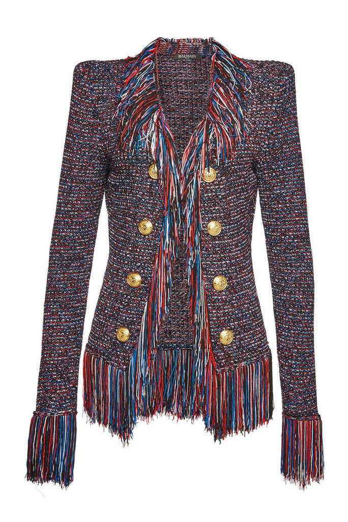 Balmain Fringed Knit Blazer with Embossed Buttons