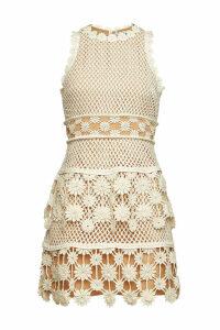 Self-Portrait 3D Floral Crochet Mini Dress with Lace