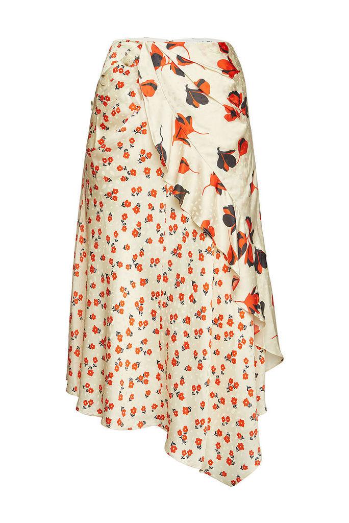Self-Portrait Printed Asymmetric Midi Skirt