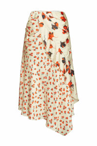 Self-Portrait Printed Asymmetric Midi Skirt