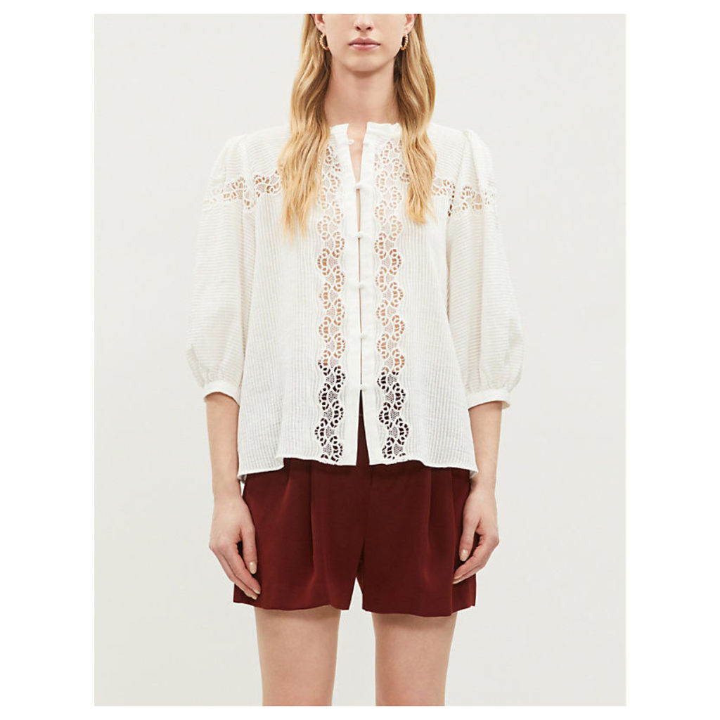 Embroidered lace detail cotton top