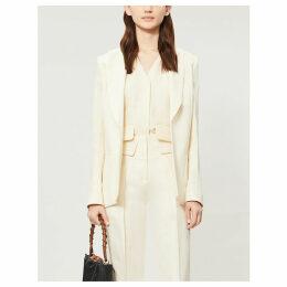Hook-fastened crepe blazer