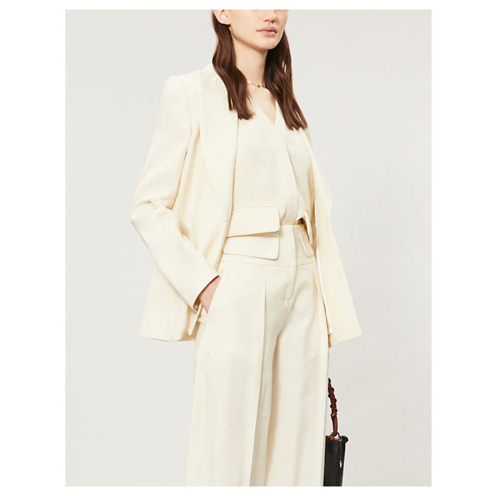 Flap-pocket loose crepe waistcoat