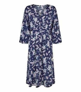 Blue Vanilla Navy Floral Kimono Midi Dress New Look