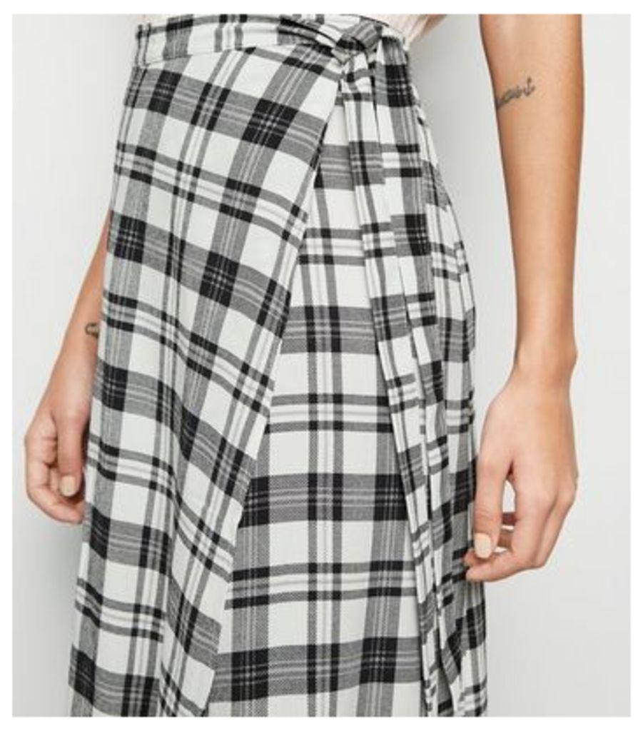 White Check Wrap Midi Skirt New Look