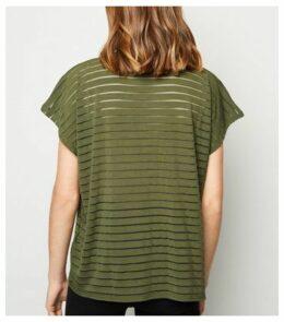 Khaki Stripe Mesh Oversized T-Shirt New Look