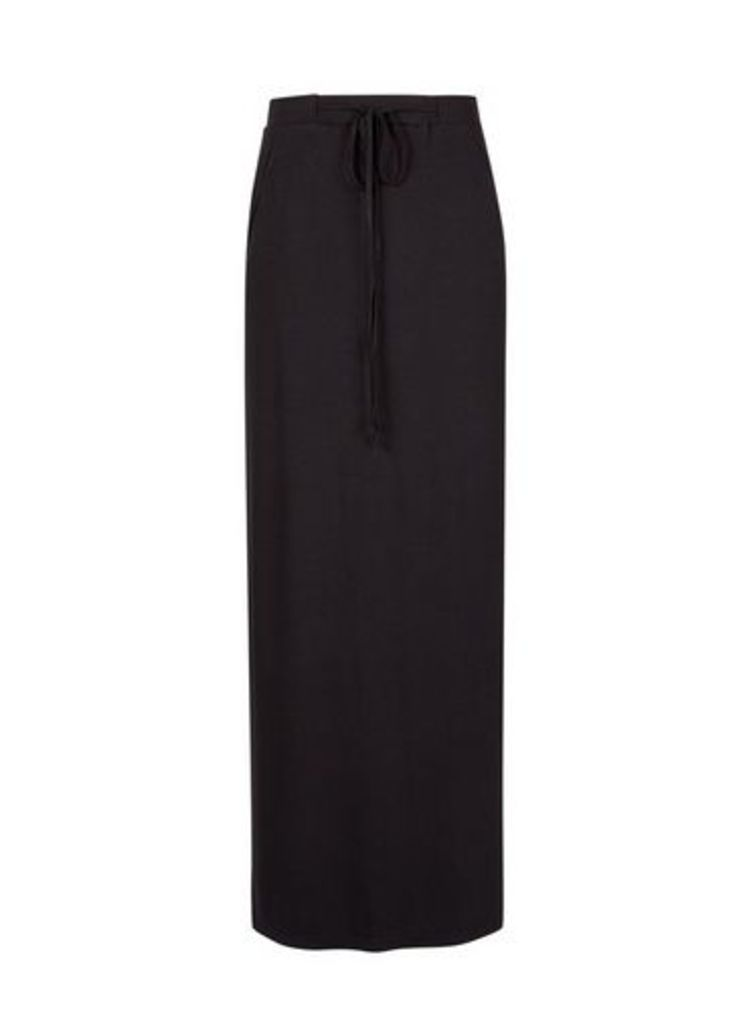 Womens Black Tie Waist Jersey Maxi Skirt- Black, Black