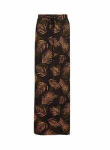 Womens Black Jersey Leaf Print Tie Waist Maxi Skirt- Black, Black