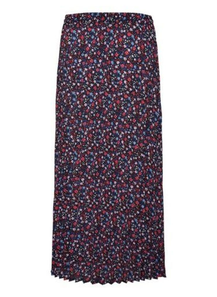Womens **Only Multi Colour Floral Print Maxi Skirt- Blue, Blue