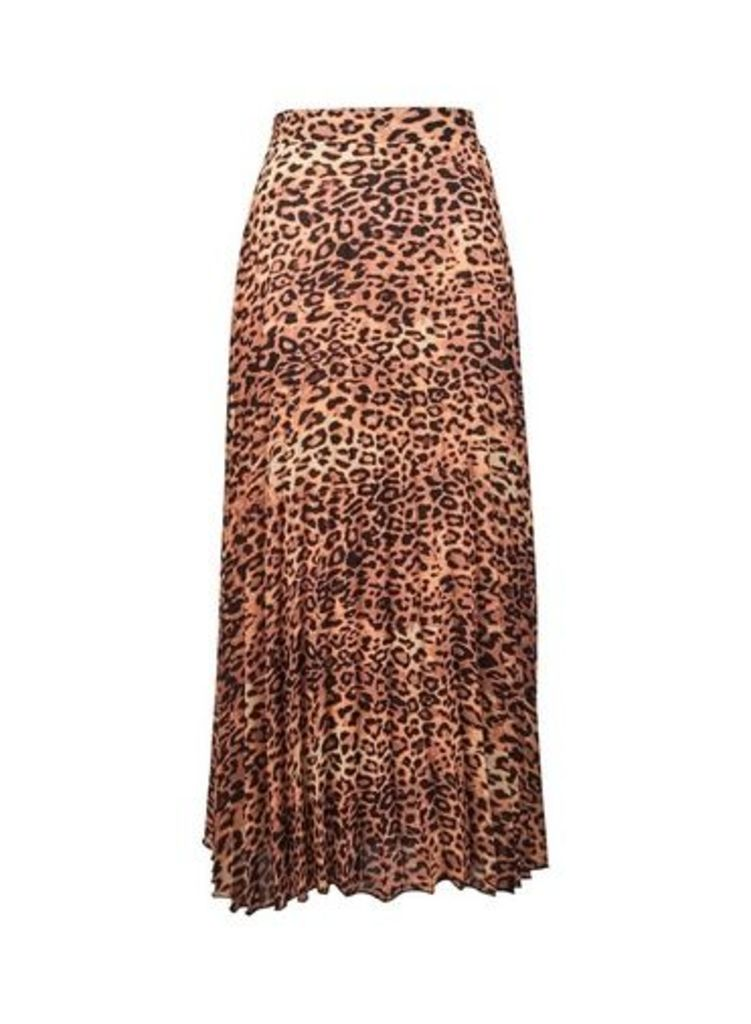 Womens **Tall Multi Coloured Animal Print Pleat Skirt- Black, Black