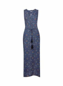 Womens **Billie & Blossom Multi Colour Asymmetric Maxi Dress- Blue, Blue