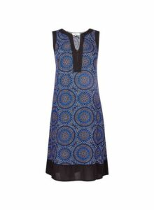 Womens **Billie & Blossom Blue Tile Print Shift Dress- Blue, Blue
