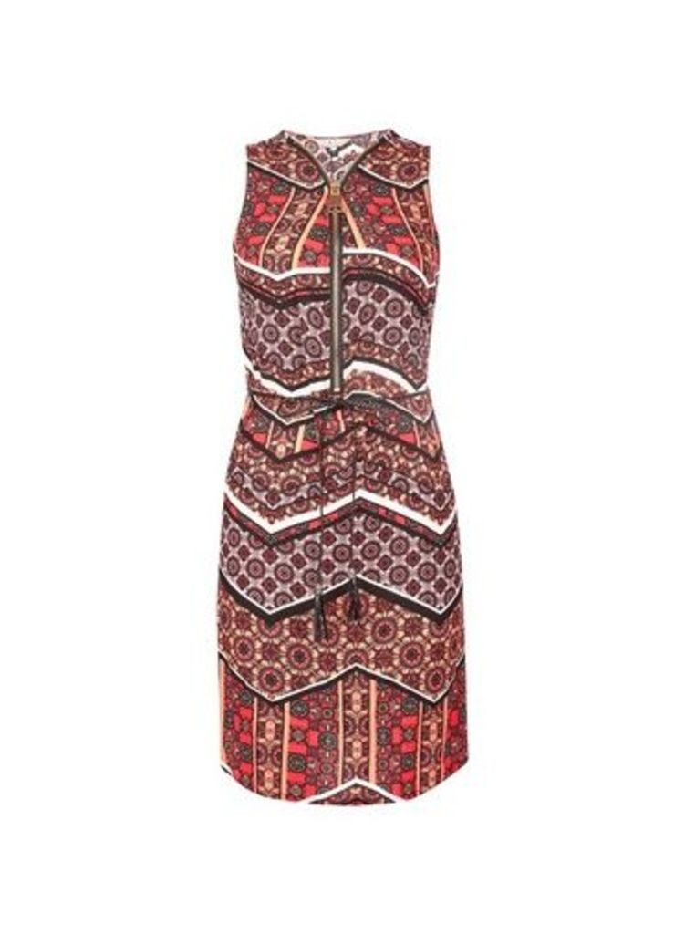 Womens **Billie & Blossom Coral Tile Print Shift Dress- Coral, Coral