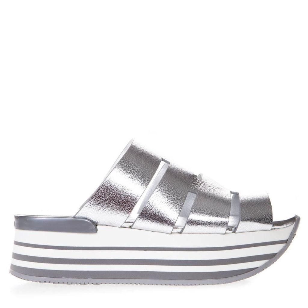 Hogan H294 Silver Cut Out Leather Sandal