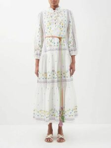 Mara Hoffman - Diana Floral Print Poplin Midi Dress - Womens - Cream