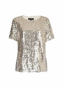 Womens Blush And Silver Sequin T-Shirt- Silver, Silver