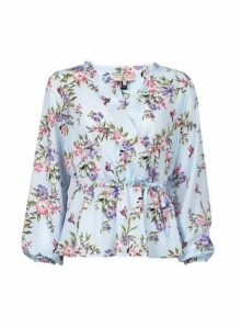 Womens **Billie & Blossom Petite Blue Floral Print Wrap Blouse- Blue, Blue