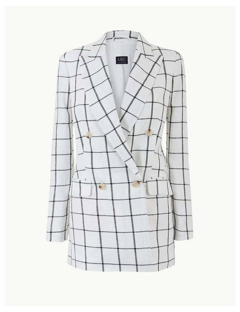 M&S Collection Pure Linen Checked Double Breasted Blazer