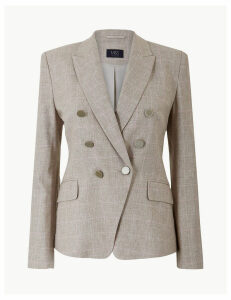 M&S Collection Linen Blend Checked Double Breasted Blazer