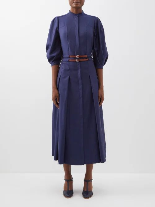 Molly Goddard - Antonia Floral Print Ruffled Dress - Womens - Black White