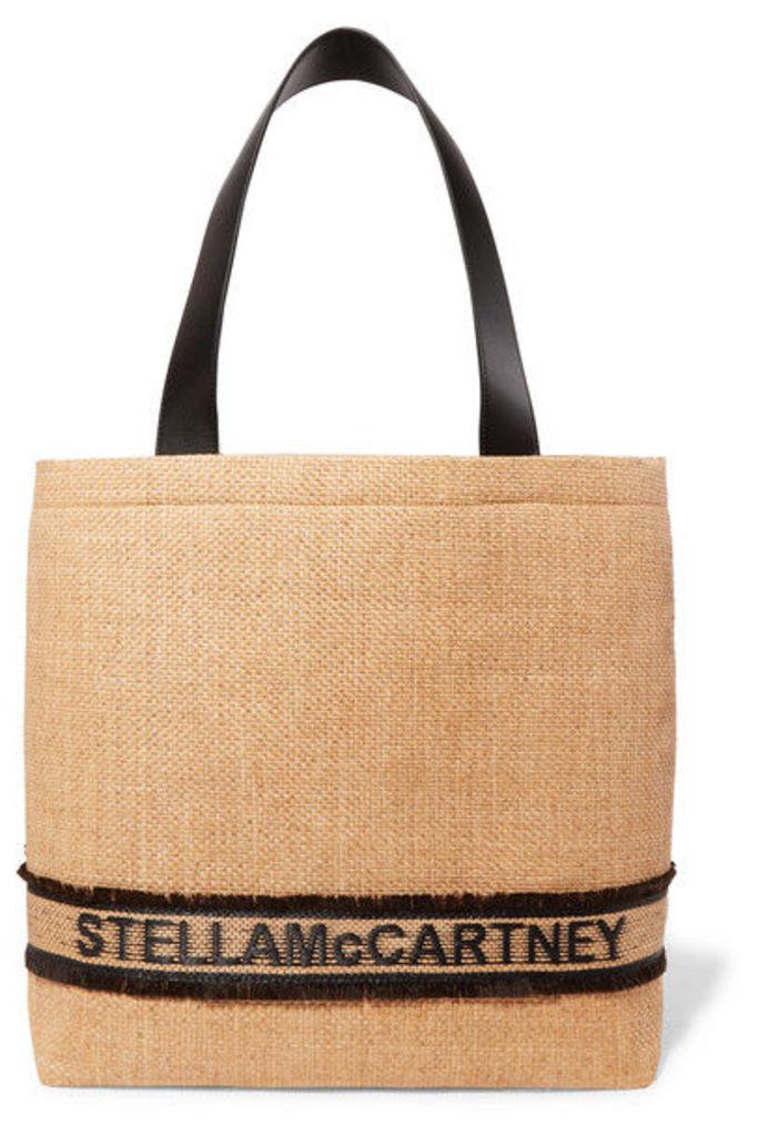 Stella McCartney - Small Faux Leather-trimmed Raffia Tote - Neutral