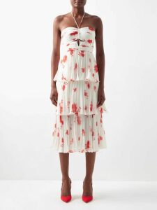 The Attico - Beaded Ostrich Feather Satin Clutch Bag - Womens - Red