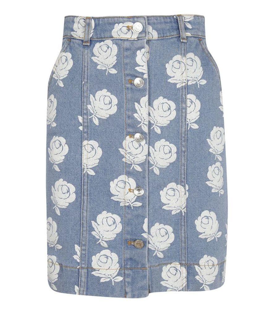 Kenzo Floral Denim Skirt