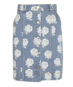 Floral Denim Skirt