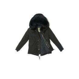 Mr & Mrs Italy Black Mini Parka Quilt Racoon Fur