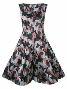 Talbot Runhof jacquard camouflage pattern dress - Blue