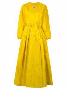 Abadia Gathering Layered Silk Dress - Yellow