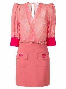 Elisabetta Franchi logo print panel dress - Pink