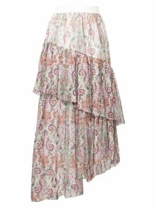 Zimmermann layered asymmetric paisley skirt - Pink