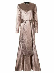 Layeur wrap-around dress with layers - Brown