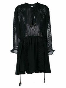 Philosophy Di Lorenzo Serafini hooded crochet mini dress - Black