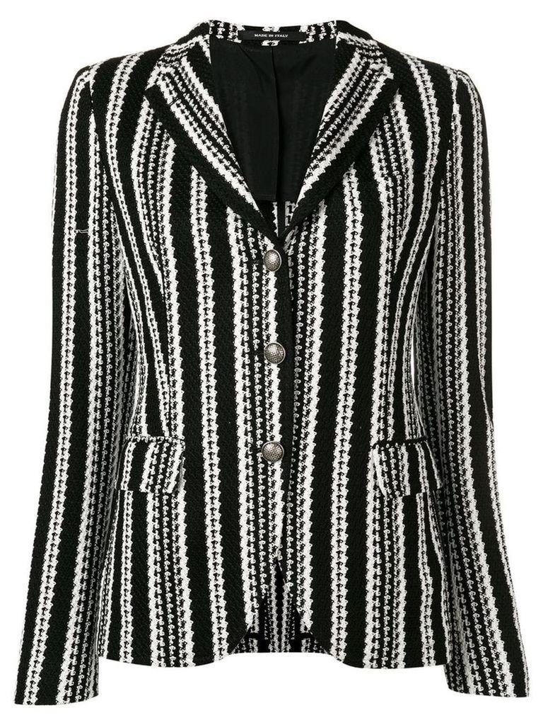 Tagliatore humbug striped knit blazer - Black